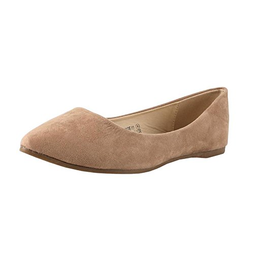 Bella Marie Angie-53 Taupe Women's Classic Pointy Toe Ballet Slip On Suede Flats (8.5)