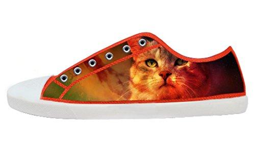 Kvinners Lerret Lave Toppen Sko Med Plass Katt Tema Lerret Kvinner Shoes20