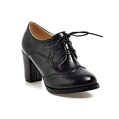 GIY Women's Lace Up Platform Oxford Pump Wingtip Perforated Chunky High Heel Vintage Dress Oxfords Shoes