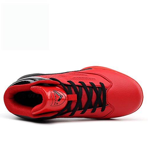 ASHION Zapatos de baloncesto para niños Alto para ayudar a los zapatos deportivos Rojo