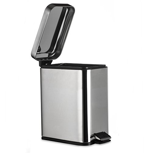 AMG and Enchante Accessories, Rectangular Waste Bin, 5L Garbage Trash Can with Step Foot Pedal, WB01 CHR, Polished Chrome