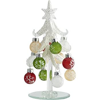 6 frosted christmas tree with 12 ornament gift box - Glass Christmas Tree