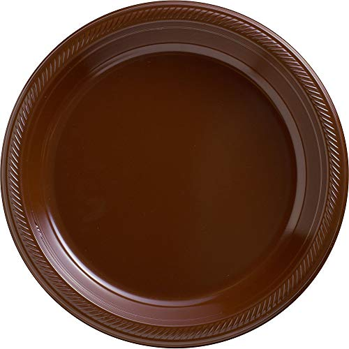 (Big Party Pack Chocolate Brown Plastic Plates | 10.25