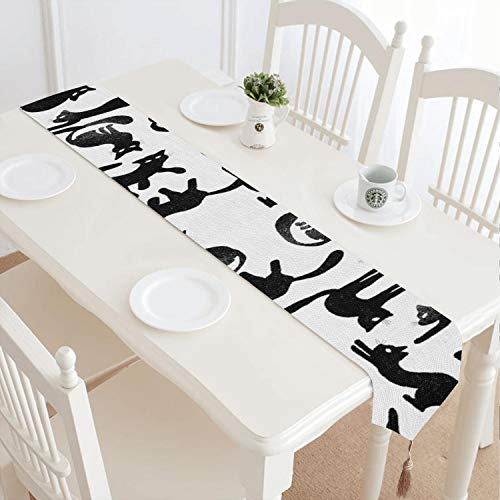 Cat vetor Hand Drawing Pattern Washable Fashion Fringed Cotton Tablecloth Suitable for Table Decoration (Fringed Hand Cable)