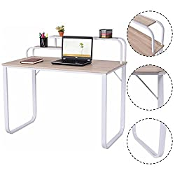 Writing Study Desk Wood Computer Desk W/2-Tier Shelves Home Office Furniture Laptop New
