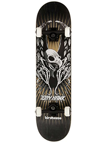 Birdhouse Skateboards Premium Quality Tony Hawk Wings Complete Skateboard, Black, 7.75