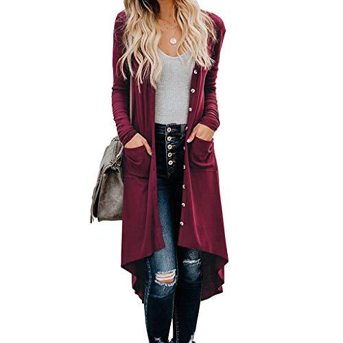 KANGMOON Women's Button Down Long Sleeve Lightweight Outwear High Low Hem Open Front Knit Cardigans with Pockets Deep Red (Phoenix Sales Furniture)