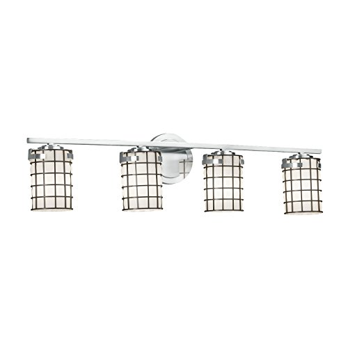 Wire Glass - Atlas 4-Light Bath Bar - Cylinder with Flat Rim Wire Cage and Blown Glass Shade in Grid with Opal - Polished Chrome Finish
