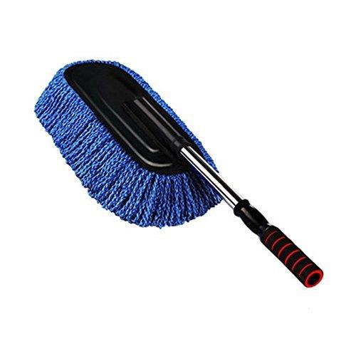 WISAMIC Signswise Duster Staubwischer einziehbare Auto Microfiber Autowasch Bü rste Staubbesen Staubwedel Staubentfernung Duster Staubbü rste Staub Reinigung Staubtuch mit Abnehmbar Teleskopstiel Blau