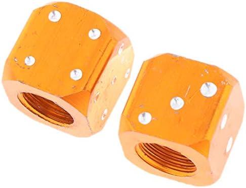 全5色 タイヤバルブキャップ ダイス 自動車 自転車 オートバイ 防水 便利 カーホイール - オレンジ