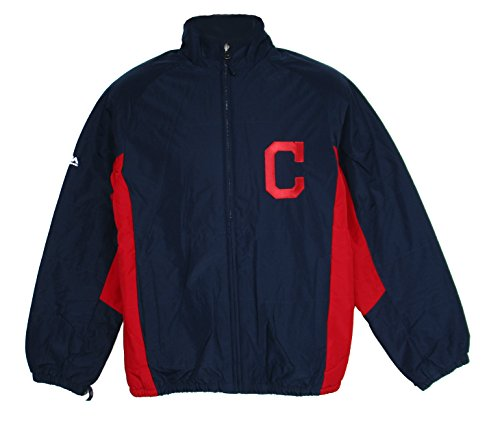 Majestic Cleveland Indians 3X-Large 3XL Full Zipper Jacket - 2 Tone Navy