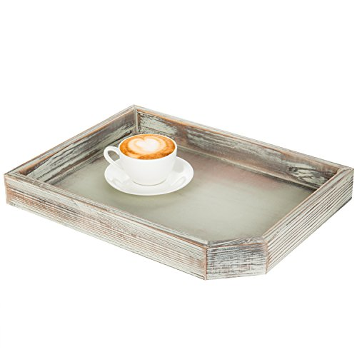 Server Rectangular Multi - MyGift 16-Inch Rustic Light Torched Wood Breakfast Serving Tray