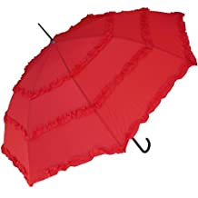 RainStoppers Women's Open Parasol Umbrella with Three Ruffles