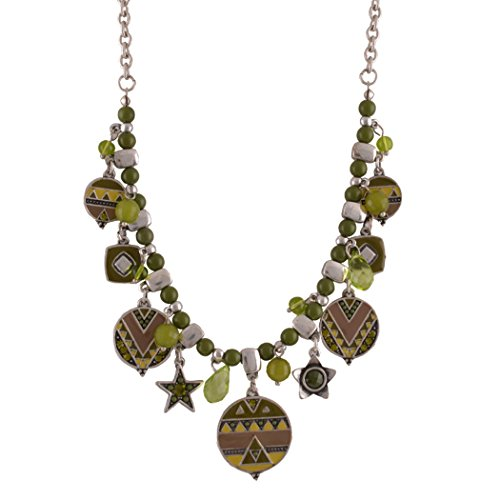 [Real Spark Womens Exotic Plaid Bohemian Beaded Chain Statement Pendant Necklace Green] (Tinkerbell Costumes Plus Size)