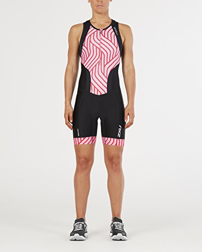 2XU Womens Perform Front Zip Trisuit, Black/Rose Pink Tide, Small by 2XU (Image #2)