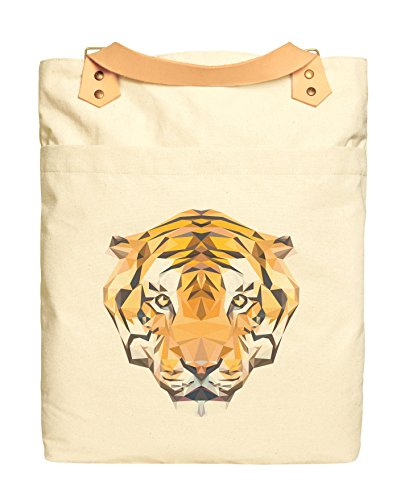 Unisex Polygon Tiger-2 Beige Print Canvas Leather Strap Laptop Backpack WAS_34 ()