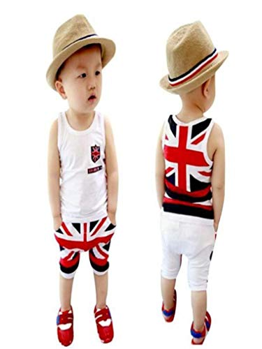 Toddler Kids Baby Boys Union Jack Outfits Vest Tops Pants Clothes Outfit 2PCS/Set (6-7 Years Old, White) ()