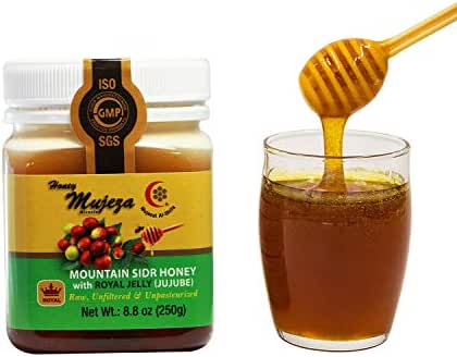 Mujeza Authentic Mountain Sidr Honey (Jujube) with Royal Jelly, Equal to Manuka Effectiveness Unprocessed and Gluten Free 100% Natural Raw Liquid Honey (Save $6 on bigger size) (250g / 8.8oz)