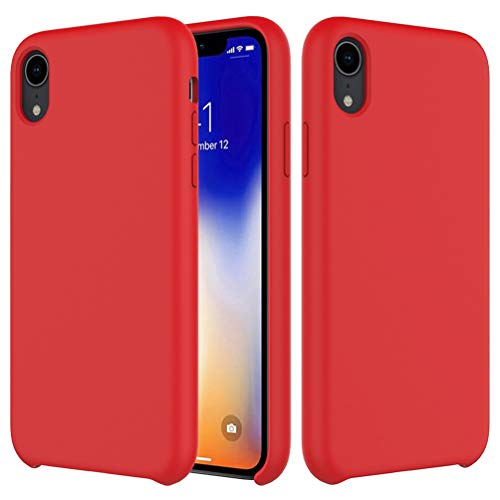 Price comparison product image Liquid Silicone Rubber Shockproof Case (with Soft Microfiber Lining) Cushion Compatible with iPhone Xs Max 6.5 (red)