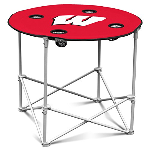 Wisconsin Badgers Collapsible Round Table with 4 Cup Holders and Carry Bag