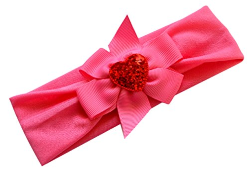 - My Funny Valentine Soft Infant Headband with Sparkling Heart and Bow (Hot Pink)