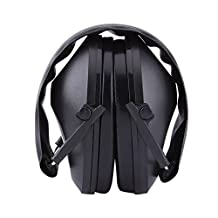 Noise Canceling Acoustic Earmuffs Hearing Protection Ear Defenders Foldable Headband for Working Construction Hunting Shooting (Black)