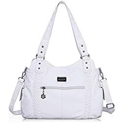 Angel Barcelo Roomy Fashion Hobo Womens Handbags Ladies Purse Satchel Shoulder Bags Tote Washed Leather Bag White