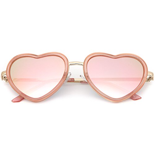 SUNGLASSES LUXE - Heart Shaped Pink Revo Rose Gold Glitter Color Mirrored - Pink Sunglasses Shaped Heart