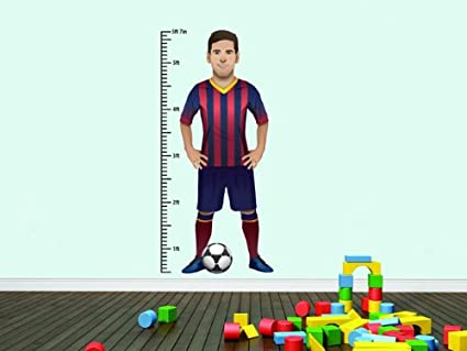 Beautiful Game Lionel Messi Wall Height Chart Sticker By Dave Flanagan Amazon Ca Home Kitchen