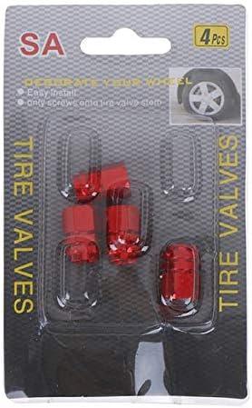 LPDD 車のホイールバルブキャップのために4本/パック自動車タイヤの空気ステムキャップダストカバーのために自転車車のトラックスタイリングクリエイティブスカルカーバルブキャップ (Color : Red)