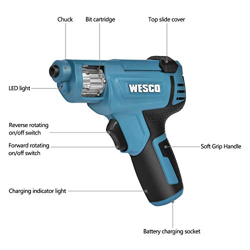 WESCO Electric Screwdriver, Cordless Screwdriver with Rechargable 1.5Ah Battery, 12 Pcs Bit Set, Home DIY Screw-Driving & Fastening Tool/WS2013.1