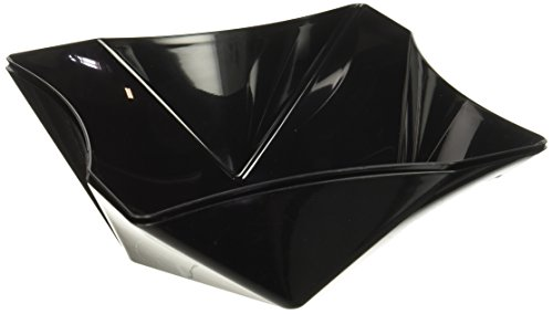 Party Essentials N811721 2 Count Hard Plastic 81 oz Square Twist Serving Bowls Available in 3 Colors, Black
