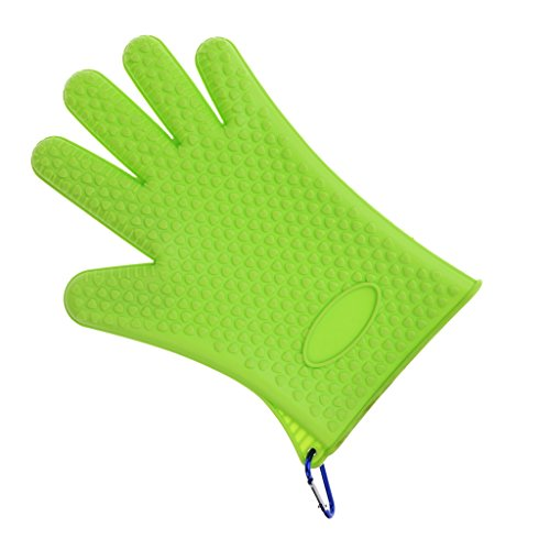 MonkeyJack 1 Piece Catch Fish Gloves Anti-slip Fishing Gloves with Buckle Anti-slip BBQ Oven Pot Holder Silicone Dotted Gloves Baking Kitchen Accessories 3 Color - Green, as described