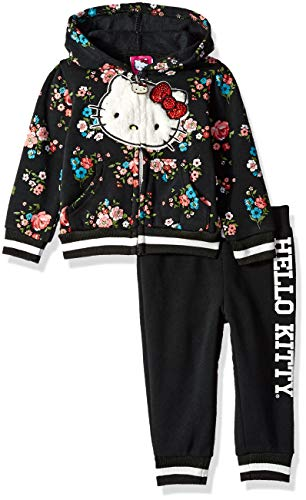 Hello Kitty Baby Girls 2 Piece Hooded Fleece Active Set, Black Floral, 24 Months