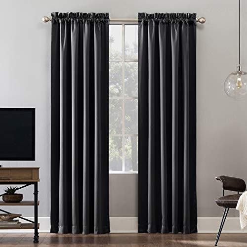 Sun Zero Oslo Theater Grade Extreme 100% Blackout Rod Pocket Curtain Panel, 52' x 84', Coal