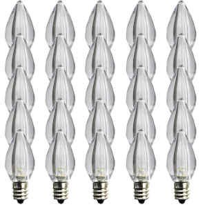 C7 Pure white LED Bulbs - Box of 25 Smooth Lens Pure white Transparent C7 Replacement Bulbs