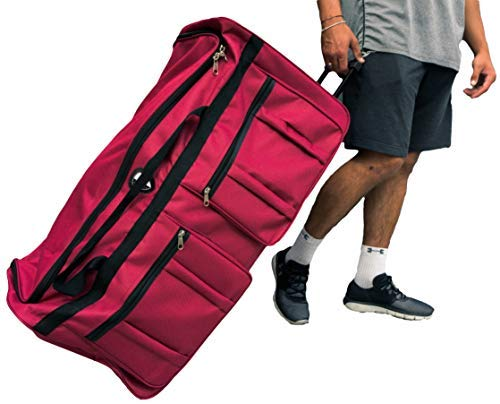(Gothamite 36-inch Rolling Duffle Bag with Wheels | Luggage Bag | Hockey Bag | XL Duffle Bag With Rollers | Heavy Duty 1200D Polyester (Red))