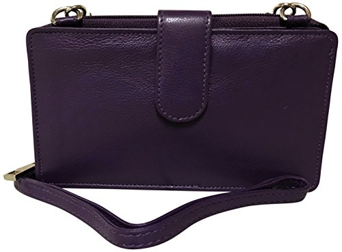 Rfid Option Crossbody Wallet With Leather RFID W Women's Purple Smart Pielino Phone 1Ha8wPf8q