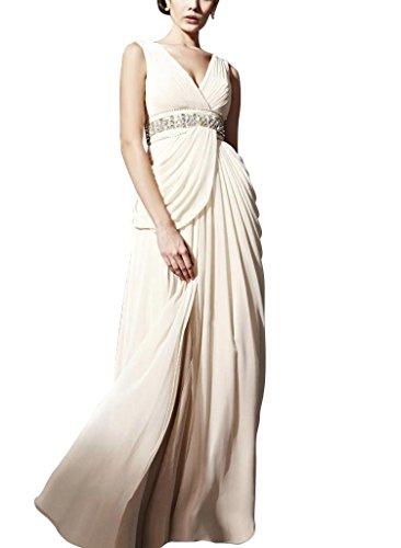 Mantel bodenlangen Spalte Applikationen BRIDE Abendkleid Chiffon V Creme GEORGE Ausschnitt mit Weiß Perlen 4fqHSxEnw