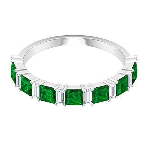 1.05 Ct Princess Cut Lab Created Emerald Ring, 0.4 Ct Baguette Shape Diamond SGL Certified Ring, HI-SI Color Clarity Diamond Gemstone Eternity Ring, 14K Gold