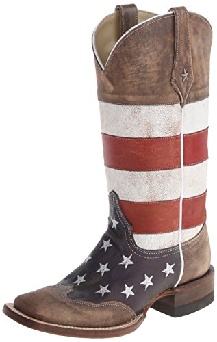 Roper Women's American Flag Square Toe Boot Brown 7.5 - Flag Square American