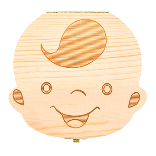 Baby Box Personalized Keepsake (Baby Teeth Box Save Wooden Boxes First Haircut Keepsake Tooth Fairy Box Personalized Tooth Holder for Boy)