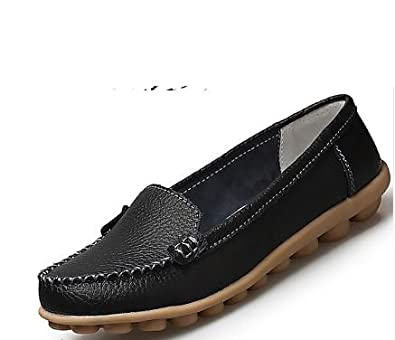 5b7dc5cb23c Amazon.com | Ladies Genuine Leather New Solid Slip On Boat Shoes for ...