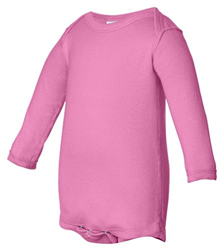 Rabbit Skins Infant Baby Rib Lap Shoulder Long Sleeve Bodysuit (Raspberry) (6)