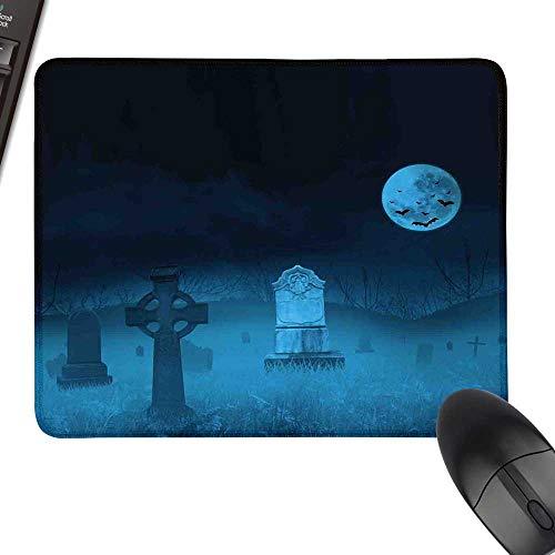 Gothic Desk Pad, Office Desk Mat Ghostly Graveyard Illustration Horror Halloween Dead Danger Theme Full Moon Bat Mystery Keyboard Mouse Pad 23.6
