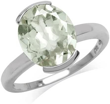 3.83ct. Natural Oval Shape Green Amethyst White Gold Plated 925 Sterling Silver Solitaire Ring