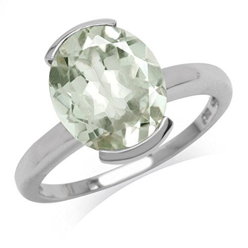 3.83ct. Natural Oval Shape Green Amethyst White Gold Plated 925 Sterling Silver Solitaire Ring Size 7