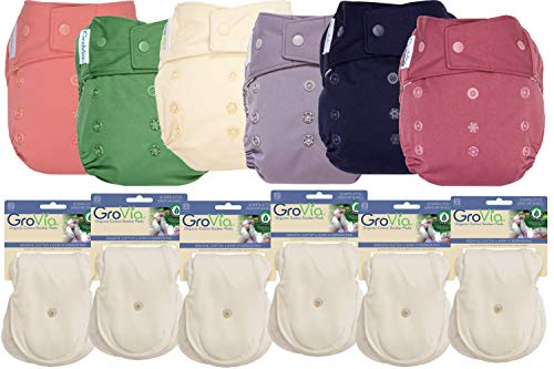 GroVia Hybrid Part Time Package: 6 Shells + 12 Organic Cotton Soaker Pads (Color Mix 4 - Snap)