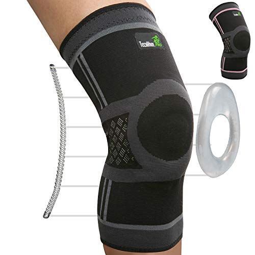 TechWare Pro Knee Compression Sleeve - Knee Braces for Knee Pain. Knee Sleeve with Side Stabilizers & Patella Gel Pads. Knee Brace for Working Out, Arthritis & Meniscus Tear. 5 Sizes. Single Pack