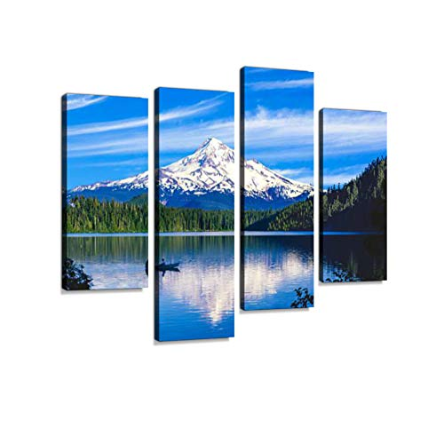 (Spring Morning with The Reflection of Mt. Hood, OR Canvas Wall Art Hanging Paintings Modern Artwork Abstract Picture Prints Home Decoration Gift Unique Designed Framed 4 Panel)